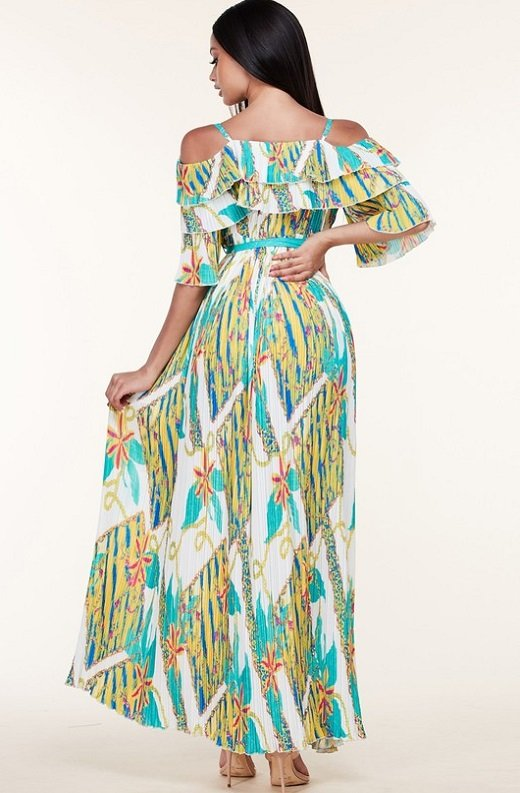 Teal Green Flower Off Shoulder Pleated Maxi dress 3