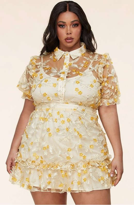 Yellow Collared Floral Overlay lace Mesh Dress Plus Size 1
