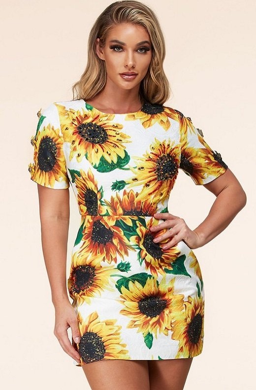 Yellow Sun Flower Embellished Beaded Mini Dress 1