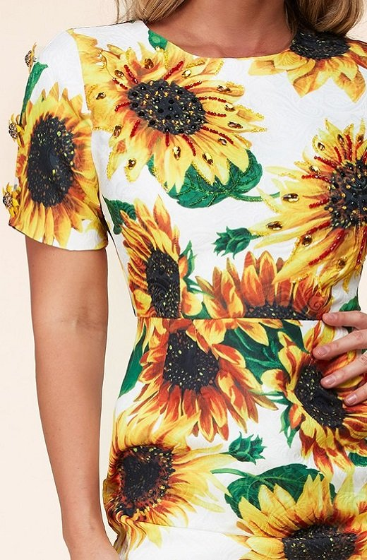 Yellow Sun Flower Embellished Beaded Mini Dress 4