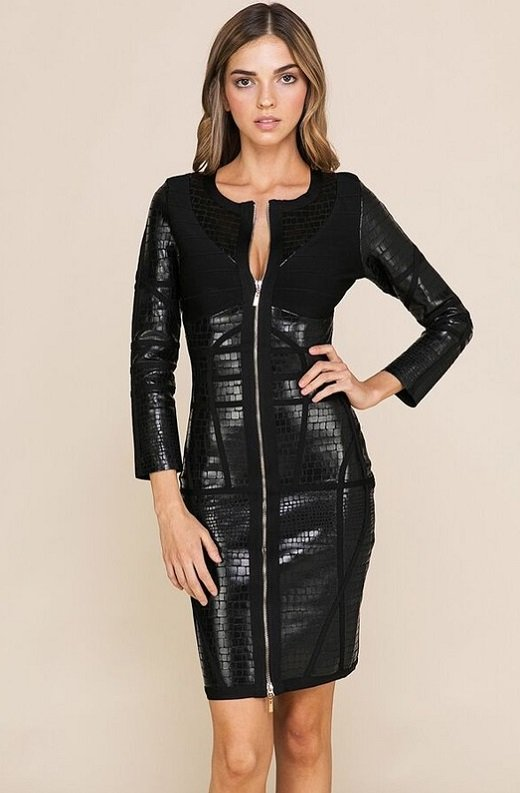 Black Foil Waist Contour Midi Bandage Dress 1