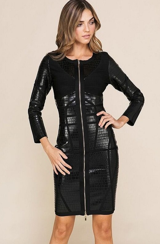 Black Foil Waist Contour Midi Bandage Dress 3