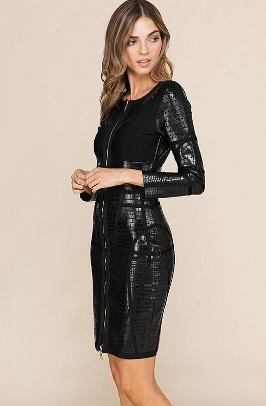 Black Foil Waist Contour Midi Bandage Dress 4