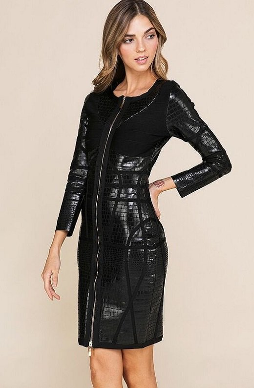 Black Foil Waist Contour Midi Bandage Dress 5