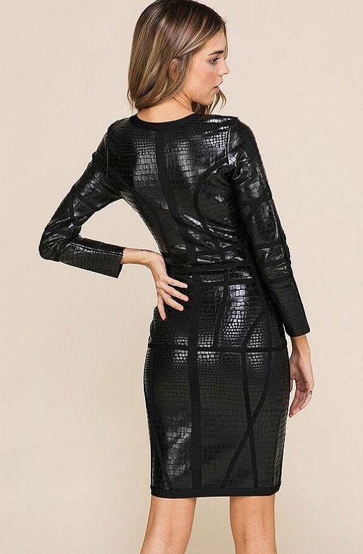 Black Foil Waist Contour Midi Bandage Dress 6