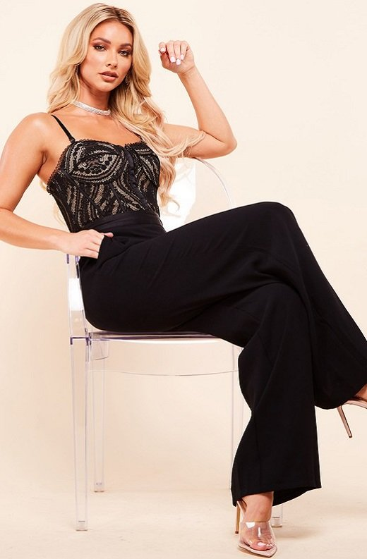 Black Padded Bustier Body Lace Mesh Sleeveless Jumpsuit 2