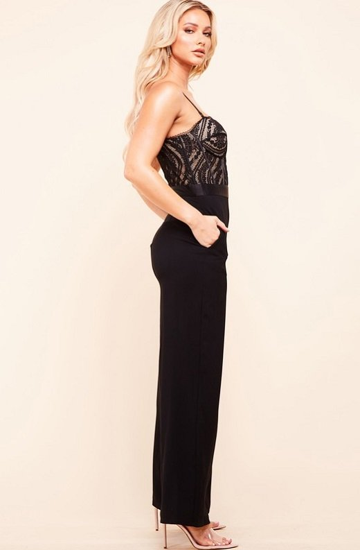 Black Padded Bustier Body Lace Mesh Sleeveless Jumpsuit 3