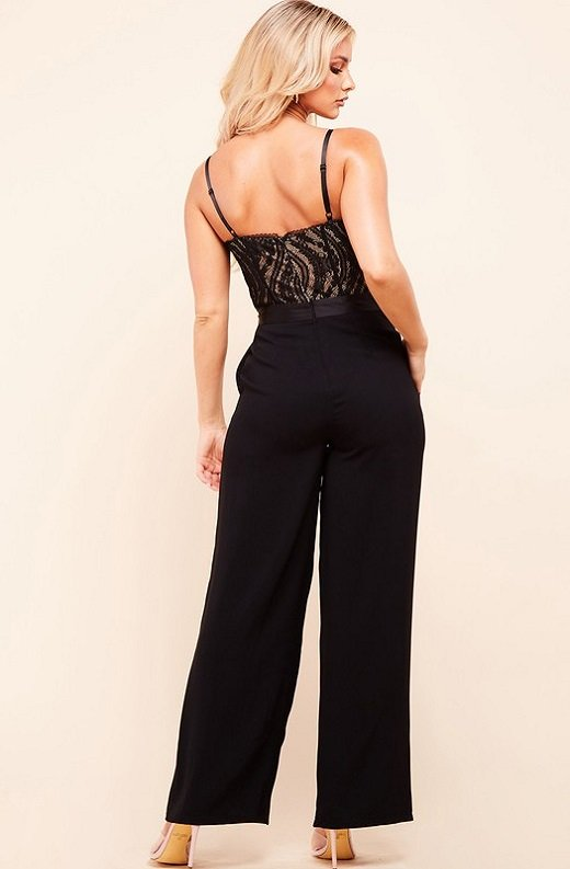 Black Padded Bustier Body Lace Mesh Sleeveless Jumpsuit 4