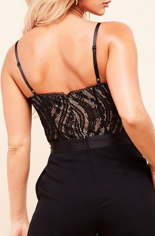 Black Padded Bustier Body Lace Mesh Sleeveless Jumpsuit 5