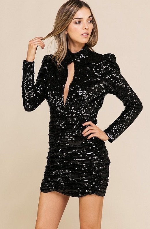 Black Sequins Long Sleeve Mock Neck Dress 3