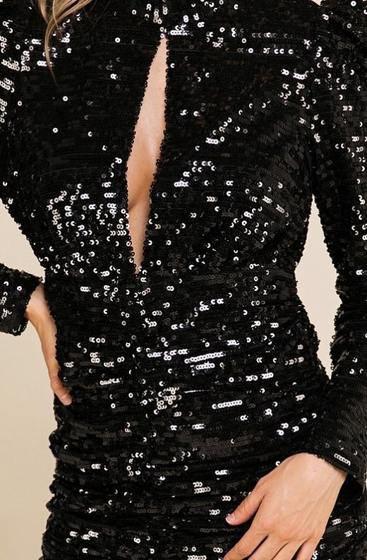 Black Sequins Long Sleeve Mock Neck Dress 6