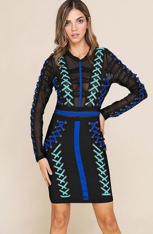 Blue Color Block Lace Up Mesh Bandage Dress 1