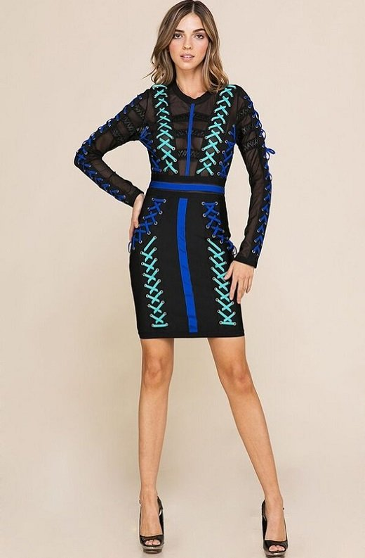 Blue Color Block Lace Up Mesh Bandage Dress 6