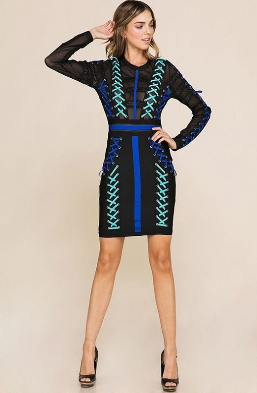 Blue Color Block Lace Up Mesh Bandage Dress 7