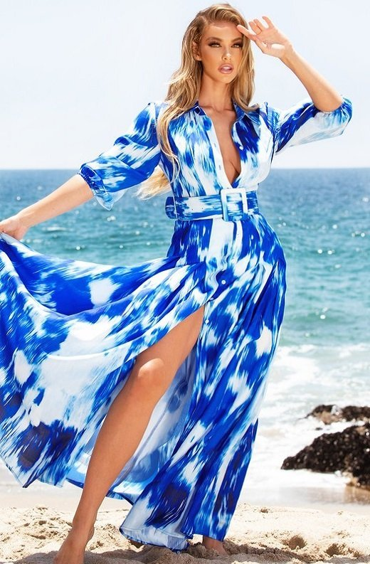 Blue Tie Dye Print Button Up Belted Maxi Dress 1