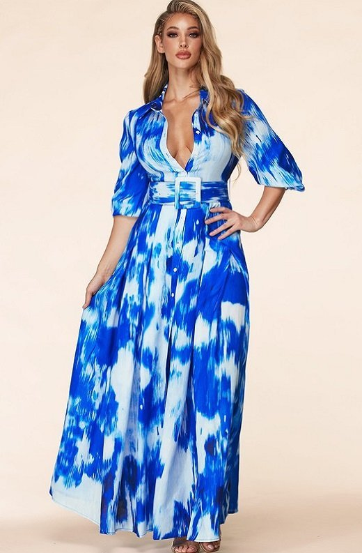 Blue Tie Dye Print Button Up Belted Maxi Dress 2