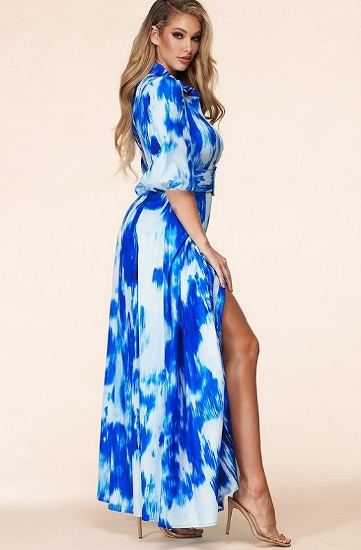 Blue Tie Dye Print Button Up Belted Maxi Dress 3