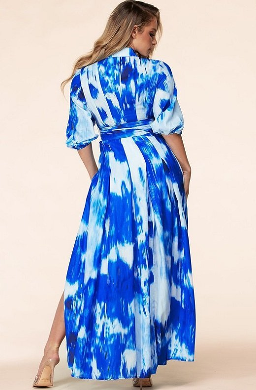 Blue Tie Dye Print Button Up Belted Maxi Dress 4