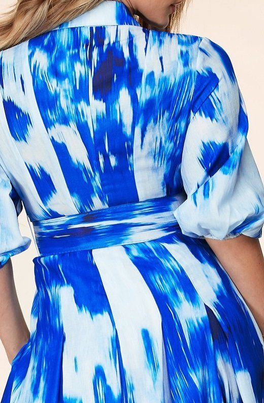 Blue Tie Dye Print Button Up Belted Maxi Dress 6