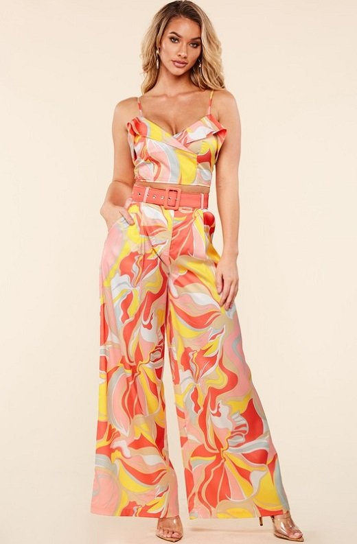 Coral Multi Flower Crop Top Wide Leg Pants Set 1