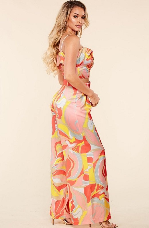Coral Multi Flower Crop Top Wide Leg Pants Set 2