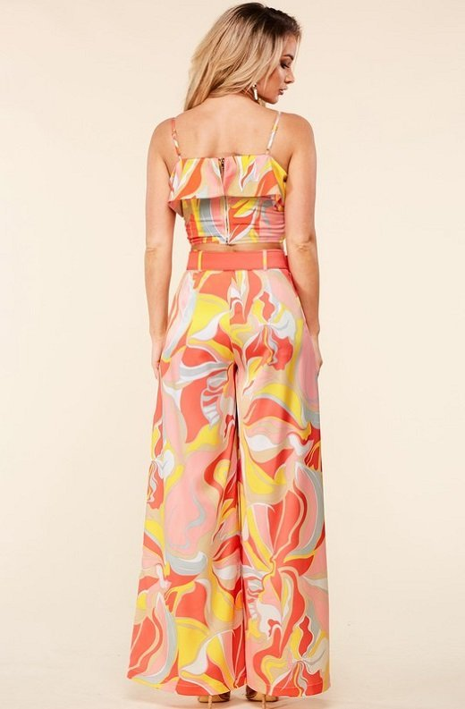 Coral Multi Flower Crop Top Wide Leg Pants Set 3