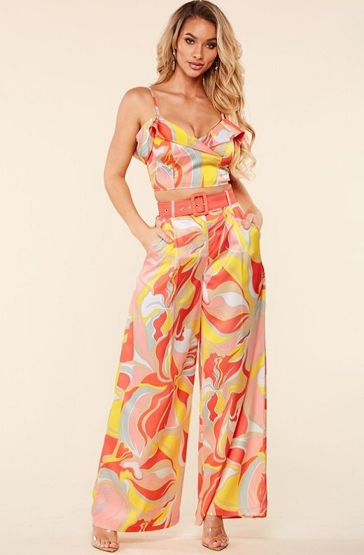 Coral Multi Flower Crop Top Wide Leg Pants Set 6