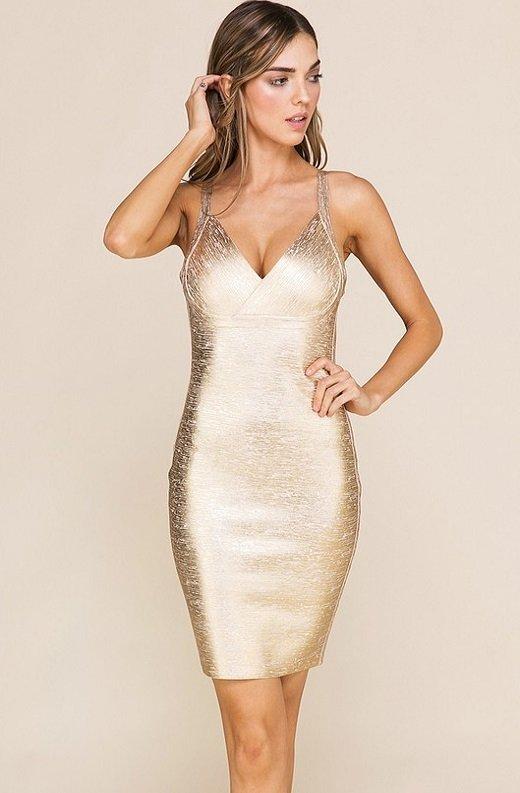 Gold Foil Sleeveless Midi Bandage Dress 1