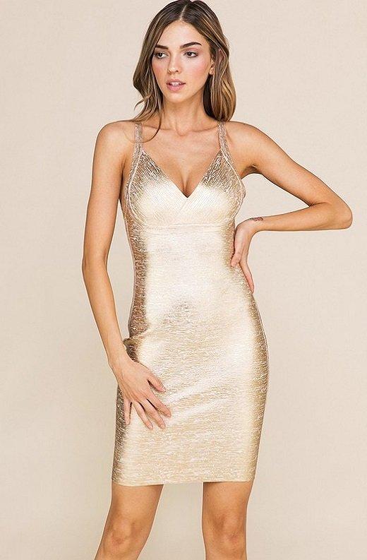 Gold Foil Sleeveless Midi Bandage Dress 2