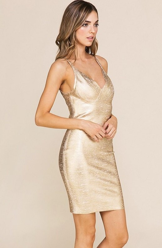 Gold Foil Sleeveless Midi Bandage Dress 3