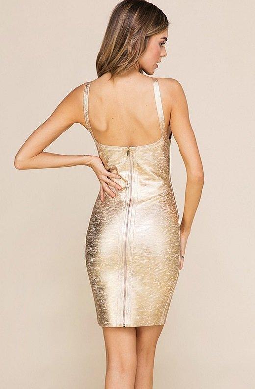 Gold Foil Sleeveless Midi Bandage Dress 4