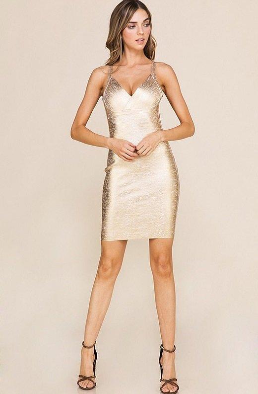 Gold Foil Sleeveless Midi Bandage Dress 5
