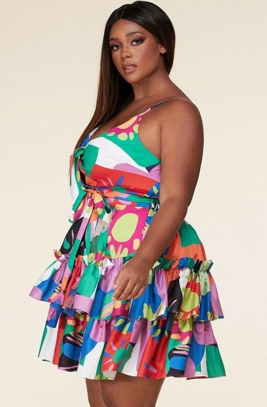 Multi Color Flower Art Belted Plus Size Dress 2