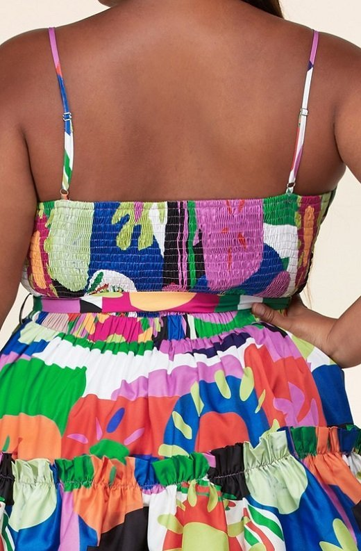 Multi Color Flower Art Belted Plus Size Dress 5