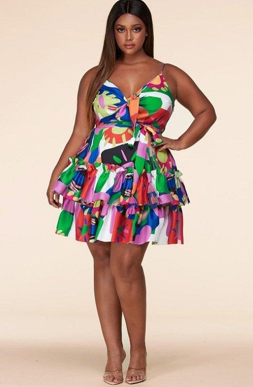 Multi Color Flower Art Belted Plus Size Dress 6