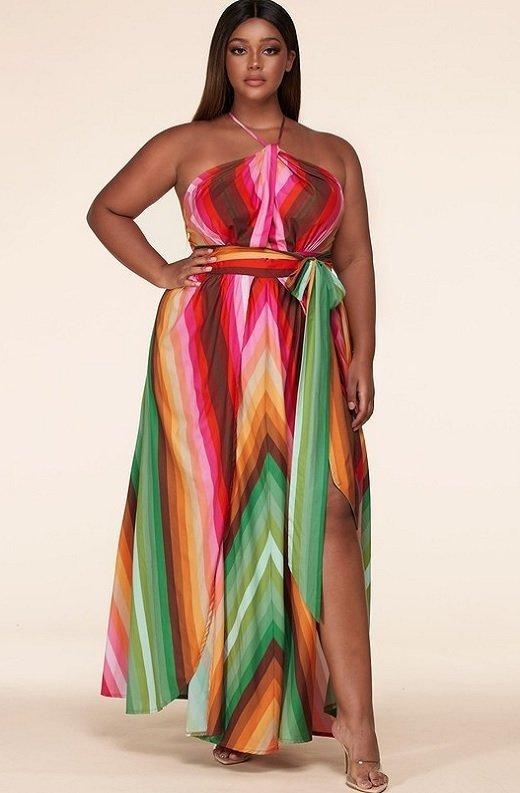Pink Chevron Striped Twisted Front Cutout Maxi Dress Plus Size 1