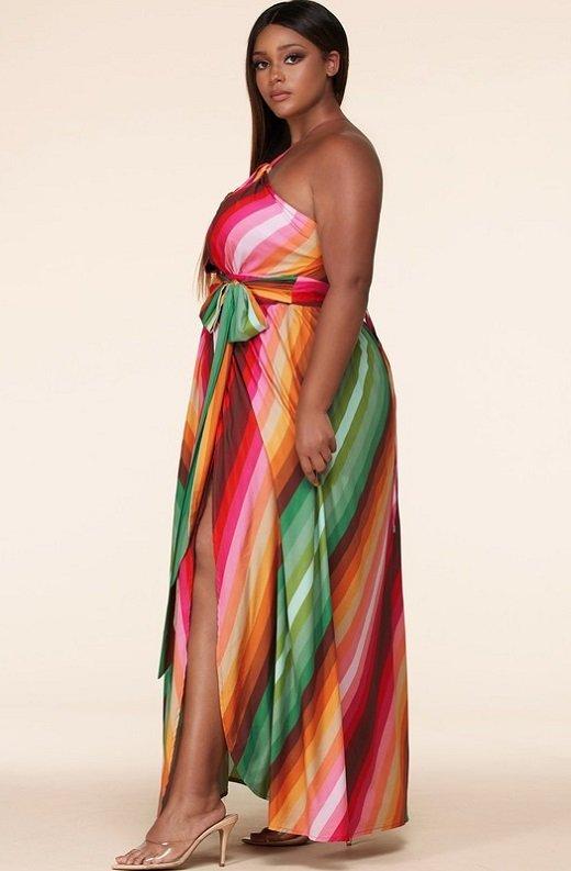 Pink Chevron Striped Twisted Front Cutout Maxi Dress Plus Size 2