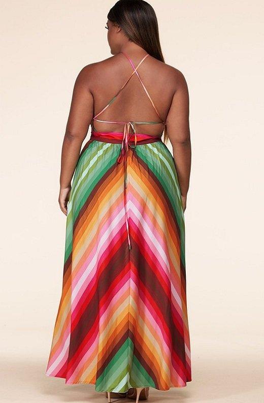 Pink Chevron Striped Twisted Front Cutout Maxi Dress Plus Size 3