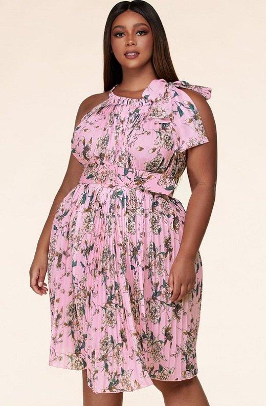 Pink Flower Pleated Halter Maxi Dress Plus Size 1