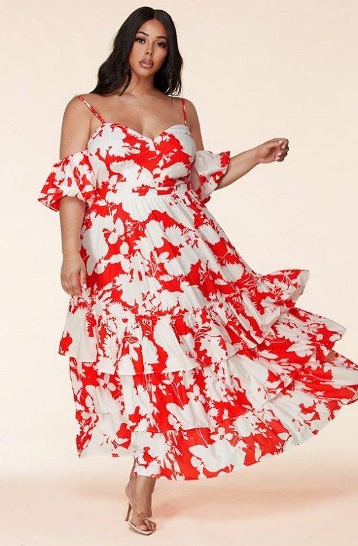 Red Strawberry Flower Print Off Shoulder Ruffle Skirt Dress Plus Size 1