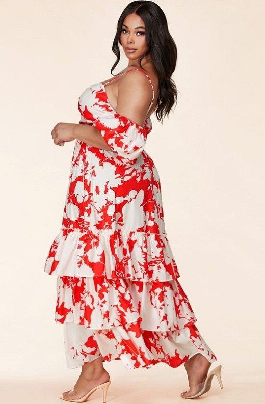 Red Strawberry Flower Print Off Shoulder Ruffle Skirt Dress Plus Size 2