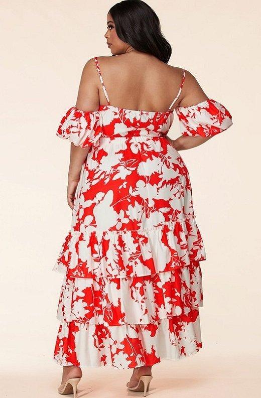 Red Strawberry Flower Print Off Shoulder Ruffle Skirt Dress Plus Size 3