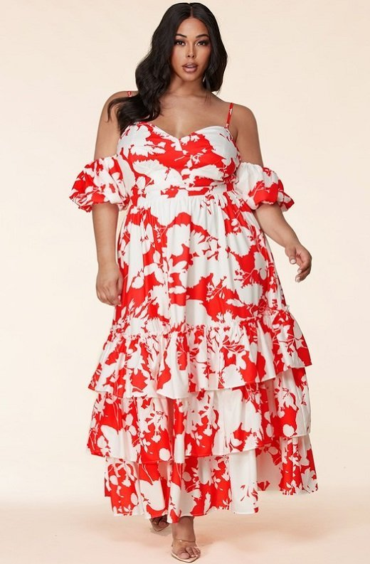 Red Strawberry Flower Print Off Shoulder Ruffle Skirt Dress Plus Size 6