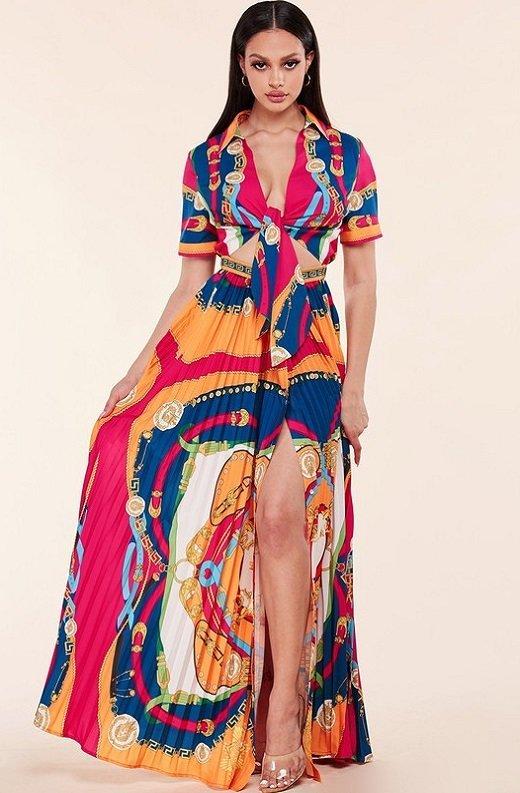 Tangerine Barocco Print Tie Front Maxi Dress 2