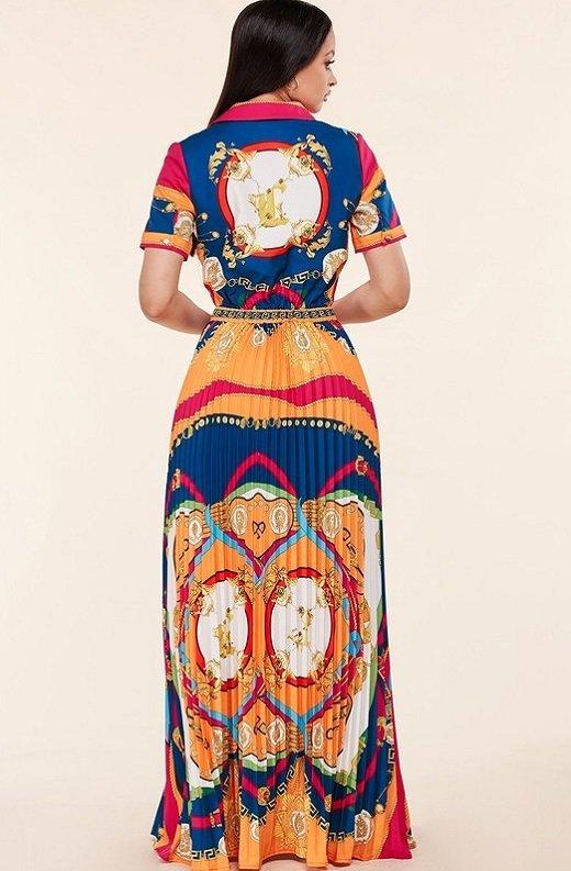 Tangerine Barocco Print Tie Front Maxi Dress 4