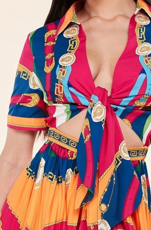 Tangerine Barocco Print Tie Front Maxi Dress 5