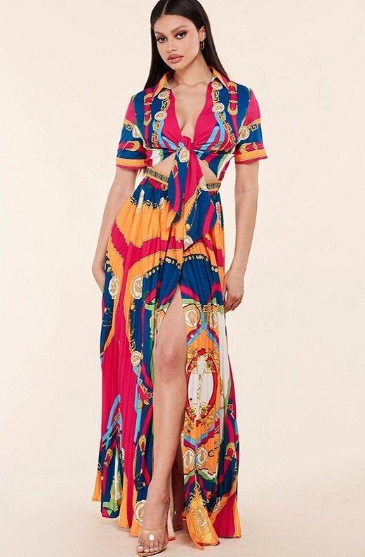 Tangerine Barocco Print Tie Front Maxi Dress 8