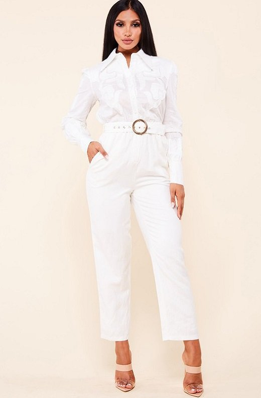 White Linen Mesh Long Sleeveless Belted Jumpsuit 1