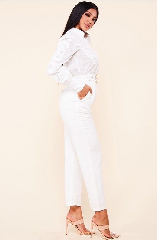 White Linen Mesh Long Sleeveless Belted Jumpsuit 2