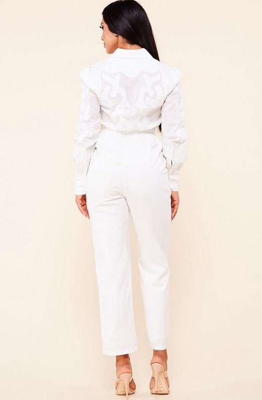 White Linen Mesh Long Sleeveless Belted Jumpsuit 3